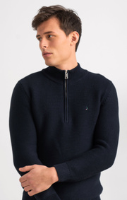 Boomerang - ALBIN HALF ZIP SWEATER - Midnight blue