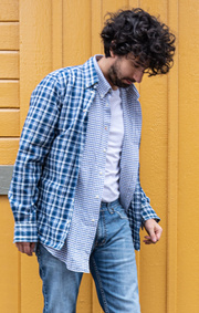 Boomerang - OXFORD SMALL CHECK SHIRT - Midnight blue