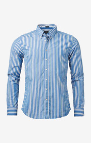 Boomerang - Shirt striped poplin trim fit - Pacific blue