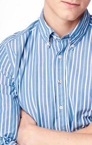 Boomerang - Shirt striped poplin trim fit - Pacific blue